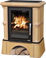 Kachlová kamna ABX BAVARIA K 12 kW, tabakbraun, kachlový sokl, dřevo/dřevěné brikety + teplovodní výměník 6,9 kW