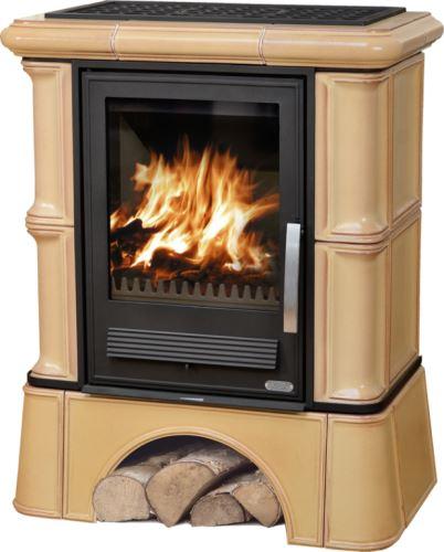 Kachlová kamna ABX BAVARIA K 12 kW, tabak, kachlový sokl, dřevo/dřevěné brikety+TV 6,9 kW