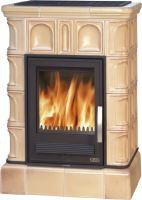 Kachlová kamna na dřevo ABX BRITANIA K 12,4 kW,tabakbraun, kachlový sokl, teplovodní výměník 6,9 kW