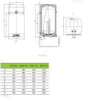 DZ Dražice OKHE 125 Bojler, ohřívač vody, elektrický, svislý - hranaté provedení