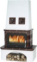 Kachlová kamna na dřevo ABX LAPONIE 12 kW, hnědá, sokl selský bílý