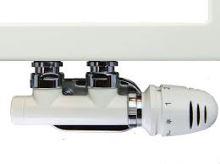 BÍLÝ ventilový set pro středové koupelnové radiátory, rohový HERZ S 3700 15 - CU 15