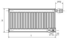 Deskový radiátor AIRFEL VK 21/900/1800 (spodní připojení, univerzální - pravé, levé) maximální výkon 4136 Wattů
