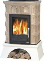 Kachlová kamna na dřevo ABX BRITANIA K 12,4 kW, tabakbraun, bílý sokl, výměník TV 6,9 kW
