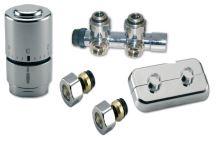 NEREZ Ventilový set pro středové koupelnové radiátory, rohový ,IVAR KIT DV 10415 pro CU 15