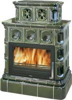 Kachlová kamna na dřevo ABX KARELIE 3025, 12 kW, zelená, kachlový sokl, plechová vložka
