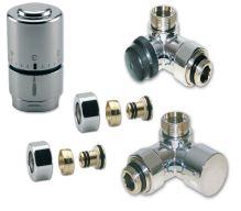 NEREZ (INOX) Ventilový set pro koupelnové radiátory, úhlový, IVAR DV 016028/1 - pro PEX 16