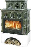 Kachlová kamna na dřevo ABX KARELIE 3025, 12 kW, zelená, bílý selský sokl