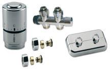 NEREZOVÝ Ventilový set pro středové koupelnové radiátory, přímý, IVAR KIT DV 10316, PEX 16