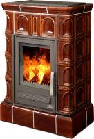 Kachlová kamna na dřevo ABX BRITANIA K 12,4 kW, hnědá, kachlový sokl včetně teplovodního výměníku 6,9 kW