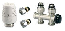 Ventilový set pro středové koupelnové radiátory, přímý, IVAR KIT M PR 01  pro CU 15