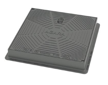 Poklop litinový čtvercový HECKL AGARA s těsněním, 600x600, nosnost 12,5 t
